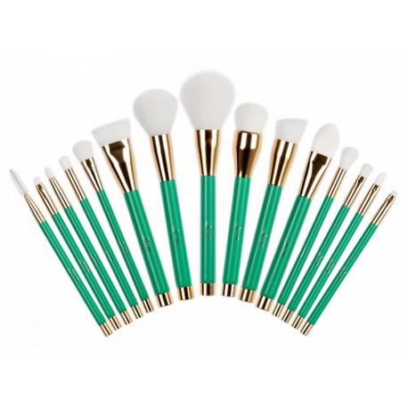 Jessup-T116-zestaw-15-pędzli-do-makijażu-Green-White-pędzle-do-makijażu-drogeria-internetowa-puderek.com.pl