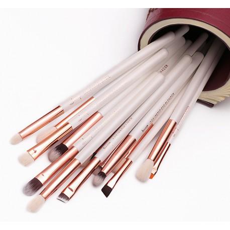 Jessup T217 Brushes Set White/Rose Gold zestaw 15 pędzli do makijażu oczu