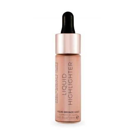 Makeup Revolution Liquid Highlighter Liquid - Bronze Gold - płynny rozświetlacz