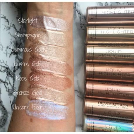 Makeup Revolution Liquid Highlighter Liquid - Luminous Gold - płynny rozświetlacz