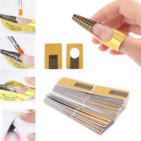 Formy do przedłużania paznokci prostokątne Gold 10 szt.