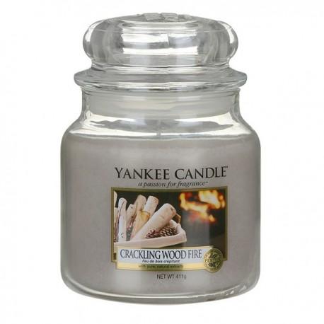Yankee Candle Crackling Wood Fire słoik średni świeca zapachowa