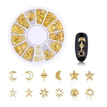 Karuzela z metalowymi ozdobami do paznokci - księżyce i gwiazdy