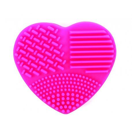 Silikonowa myjka do pędzli w kształcie serca - różowa