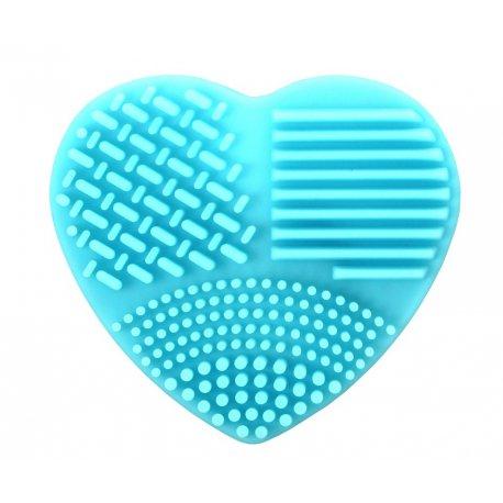 Silikonowa myjka do pędzli w kształcie serca - niebieska