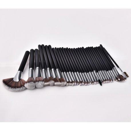 Black - Silver Brush Set - Zestaw 32 pędzli do makijażu