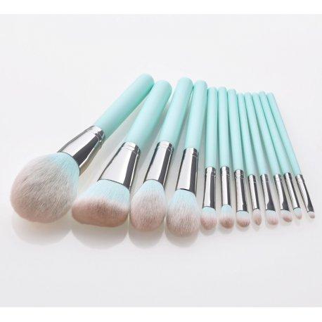 GlamRush Zestaw pędzli do makijażu - Pastel Brush Set G100 - 12 szt. + etui/kosmetyczka