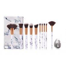 Zestaw pędzli do makijażu + blender - Marble Brush Set - 10 szt. + etui/kosmetyczka