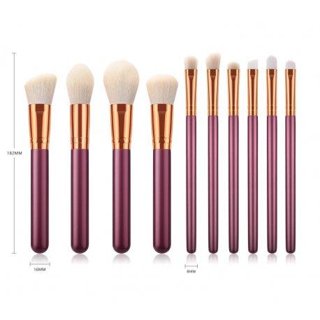 GlamRush Zestaw pędzli do makijażu - Maroon Brush Set G210 - 10 szt. + etui/kosmetyczka