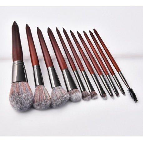 GlamRush Zestaw pędzli do makijażu - Wooden Brush Set G230 - 11 szt. + etui/kosmetyczka
