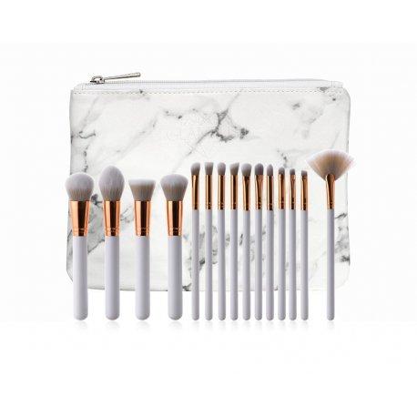 GlamRush zestaw pędzli do makijażu - White - Rose Gold Brush Set G120 - 15 szt. + etui/kosmetyczka