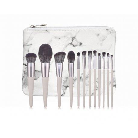 GlamRush Zestaw pędzli do makijażu - Grey Brush Set G150 - 12 szt. + etui/kosmetyczka
