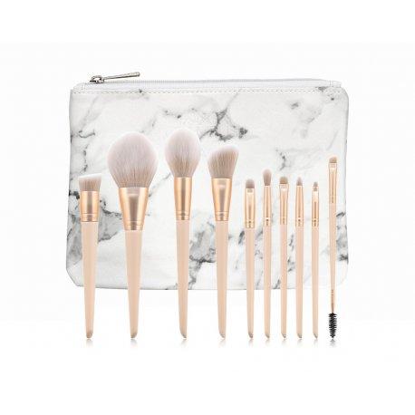 GlamRush Zestaw pędzli do makijażu - Gold - Nude Brush Set G160 - 10 szt. + etui/kosmetyczka