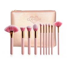 GlamRush Zestaw pędzli do makijażu - Pink Brush Set G200 - 10 szt. + etui/kosmetyczka