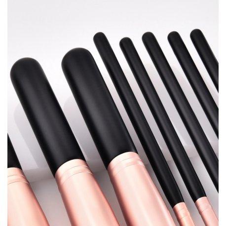 GlamRush Zestaw pędzli do makijażu - Kabuki Black - Rose Gold Brush Set G270 - 14 szt. + etui/kosmetyczka