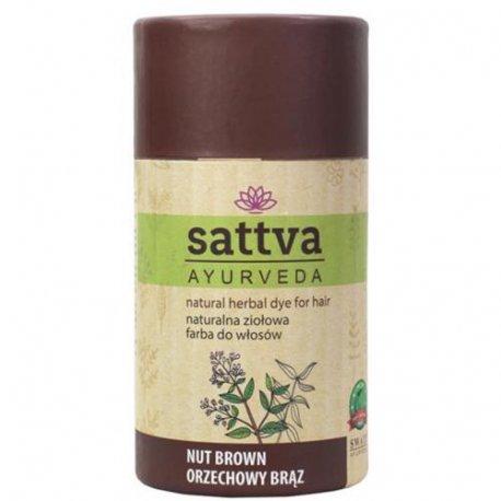 Sattva Henna - Nut Brown - Naturalna ziołowa farba do włosów 150g