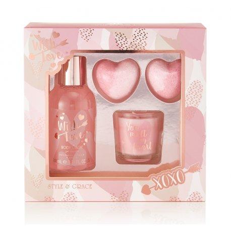 S&G With Love Relax And Bath Gift Set - zestaw kosmetyków ze świeczką