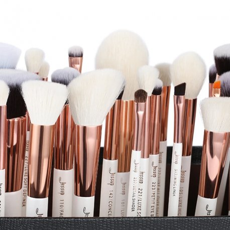 Jessup T215 Brushes Set White/Rose Gold zestaw 25 pędzli do makijażu