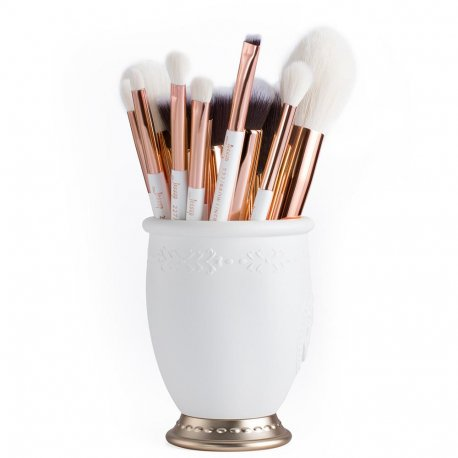 Jessup T220 Brushes Set White/Rose Gold zestaw 15 pędzli do makijażu
