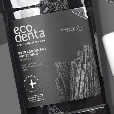 Ecodenta Czarny Wybielający Płyn do Płukania Jamy Ustnej z Węglem Drzewnym 500 ml