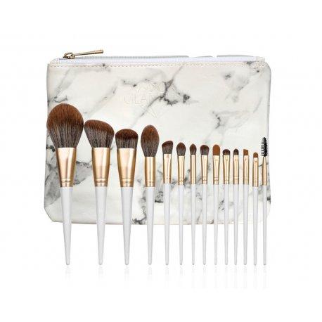 GlamRush Zestaw pędzli do makijażu - Flamed Brush Set G310 - 14 szt. + etui/kosmetyczka
