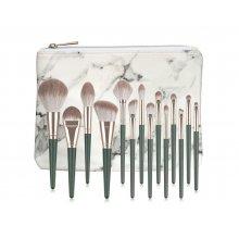 GlamRush Zestaw pędzli do makijażu - Emerald Brush Set G320 - 14 szt. + etui/kosmetyczka