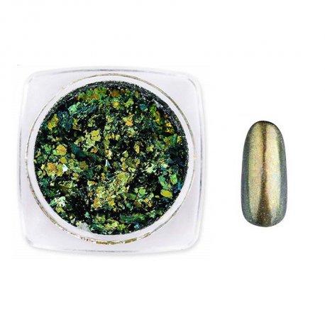 Laser Chameleon Flakes 004 - pyłek do paznokci + aplikator - 2 sposoby aplikacji