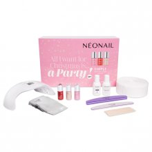 Neonail Zestaw XXL - All I Want For Christmas is a Party - 3 Lakiery Hybrydowe Simple z Lampą + Akcesoria