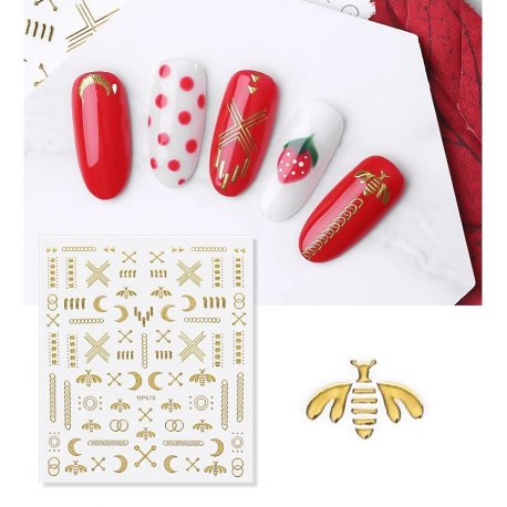 Złote naklejki 3D na paznokcie - DP670 Egyptian Queen