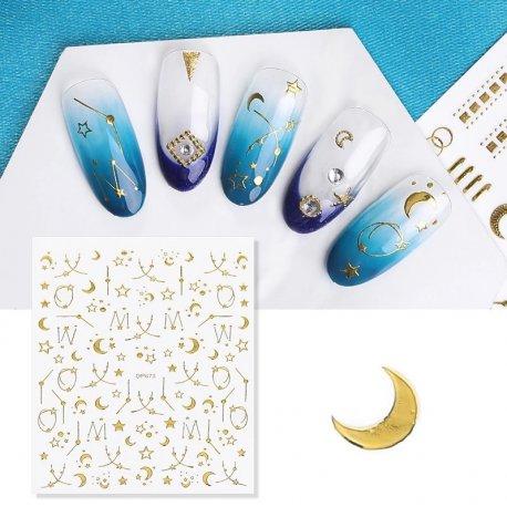 Złote naklejki 3D na paznokcie - DP673 Starry Night