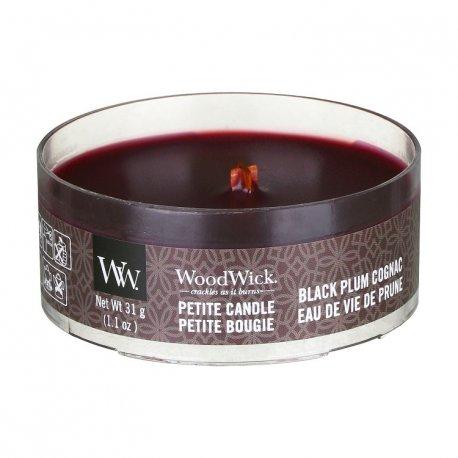 Woodwick Petite Black Plum Cognac - świeca zapachowa