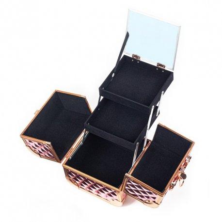 GlamRush kuferek na kosmetyki z lusterkiem - Diamond Rose Gold 3D S