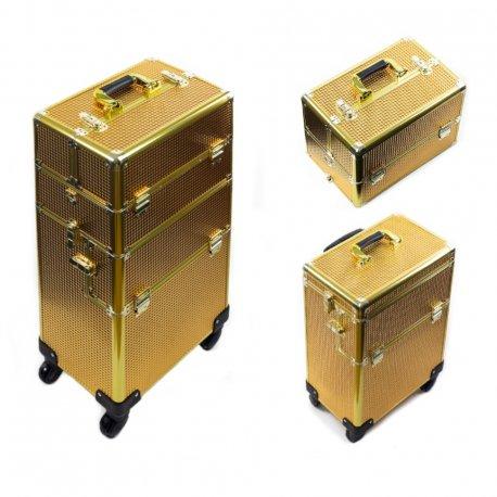 GlamRush walizka kuferek na kosmetyki 2w1 - Double Gold XXL