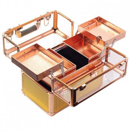 GlamRush kuferek na kosmetyki - Clear/Rose Gold 3D M