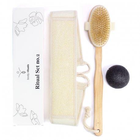 Body Rituals - Ritual Set No. 2 - zestaw szczotka do masażu, myjka, Konjac Sponge