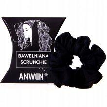Anwen Bawełniana scrunchie - czarna gumka do włosów
