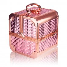 GlamRush kuferek na kosmetyki z lusterkiem - Rose Gold 3D S