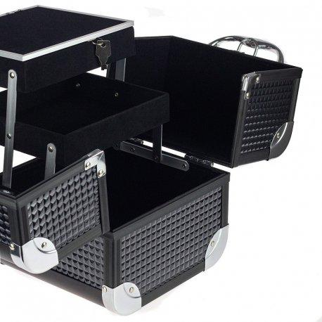GlamRush kuferek na kosmetyki z lusterkiem - Black 3D S