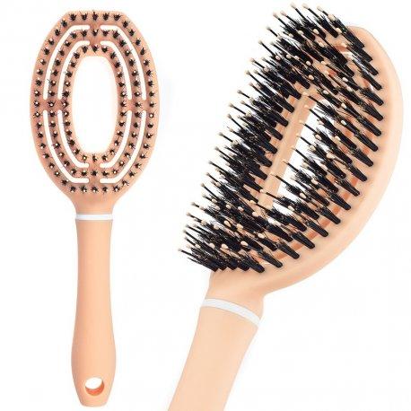 Body Rituals Detangling Hair Brush - Peach Bloom - szczotka do włosów z włosiem dzika