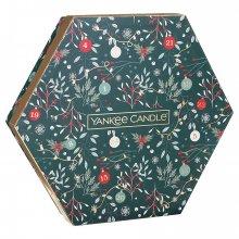 Yankee Candle Countdown to Christmas - zestaw świąteczny - 18 tealightów + świecznik