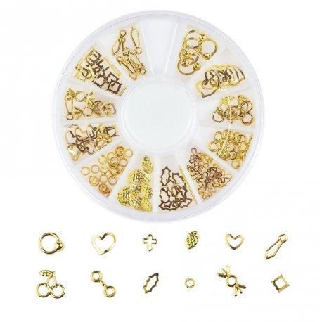 Karuzela ze złotymi ozdobami do paznokci