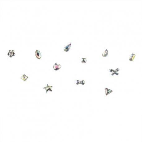Karuzela z kryształkami do zdobienia paznokci - różne kształty