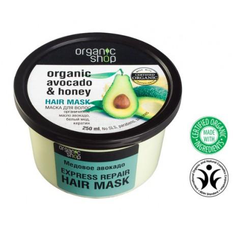 Organic Shop Eco maska do włosów Avocado i Miód - Ekspresowa naprawa  250 ml